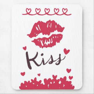 Alfombrilla De Ratón Labios rojos del beso del lápiz labial del amor