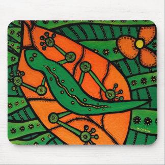 Alfombrilla De Ratón Lagarto anaranjado y verde del Gecko