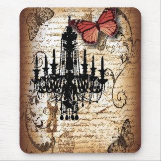 Alfombrilla De Ratón lámpara del vintage de París de la mariposa del