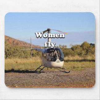 Alfombrilla De Ratón Las mujeres vuelan: Helicóptero 2 (blancos)