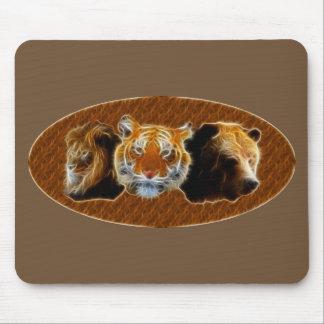 Alfombrilla De Ratón León y tigre y oso