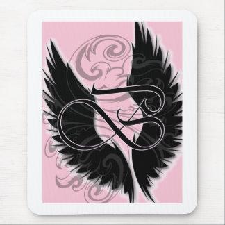 Alfombrilla De Ratón Letra negra negra del monograma B del ala