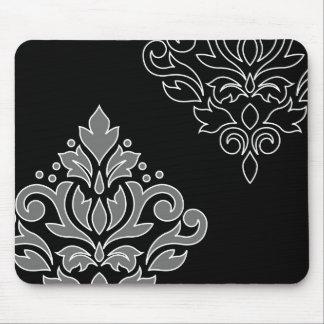 Alfombrilla De Ratón Línea blanca negro gris del arte I del damasco de