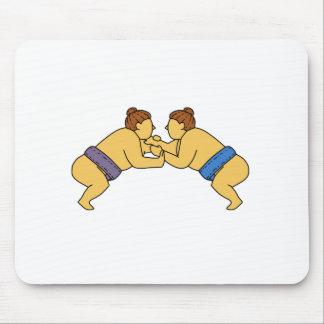 Alfombrilla De Ratón Línea de los luchadores del sumo de Rikishi mono