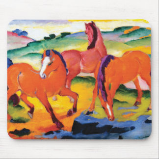 Alfombrilla De Ratón Los caballos rojos de Franz Marc