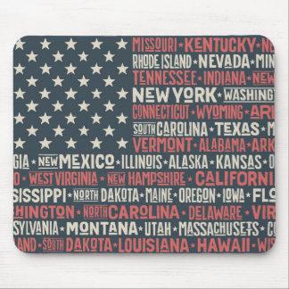 Alfombrilla De Ratón Los Estados Unidos de América  States y capitales