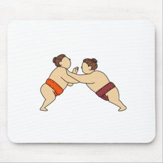 Alfombrilla De Ratón Luchador del sumo de Rikishi que empuja la mono