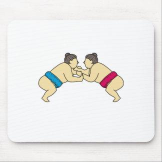 Alfombrilla De Ratón Luchadores del sumo de Rikishi que luchan la mono