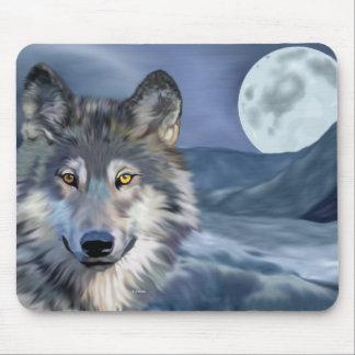 Alfombrilla De Ratón Luna Llena del lobo del invierno