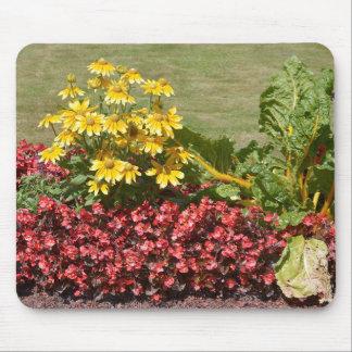 Alfombrilla De Ratón Macizo de flores de coneflowers y de begonias