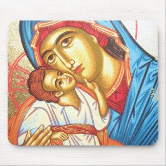 Alfombrilla De Ratón Madonna con oro religioso bizantino del icono de