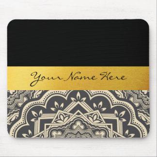 Alfombrilla De Ratón Mandala elegante personalizada del negro y del oro
