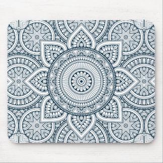 Alfombrilla De Ratón Mandala floral blanca azul geométrica