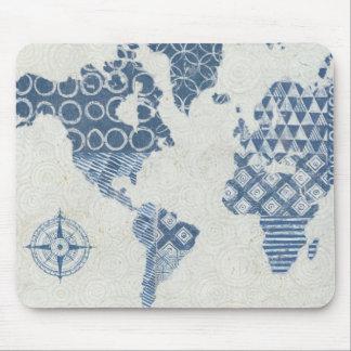 Alfombrilla De Ratón Mapa del batik de los azules añiles del mundo