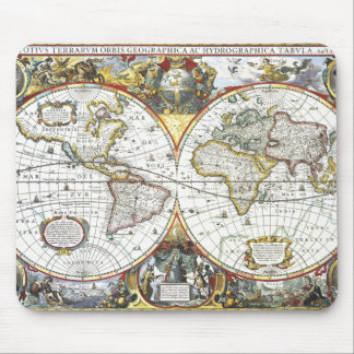 Alfombrilla De Ratón Mapa del mundo antiguo de Hendrik Hondius, 1630