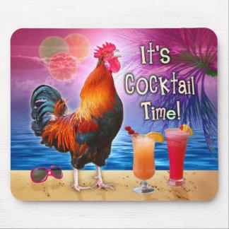Alfombrilla De Ratón Mar tropical de la playa del gallo de los cócteles