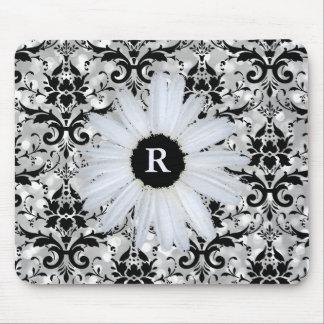 Alfombrilla De Ratón Margarita con monograma negra de plata elegante