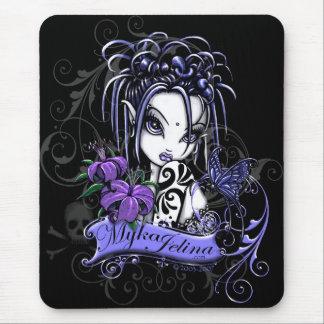 Alfombrilla De Ratón Mariposa gótica púrpura del Faery del tatuaje de