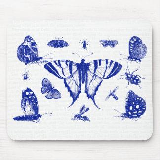 Alfombrilla De Ratón Mariposas del vintage en azul