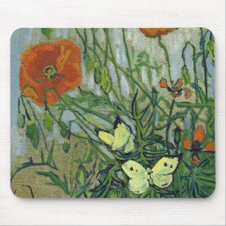 Alfombrilla De Ratón Mariposas y amapolas de Vincent van Gogh
