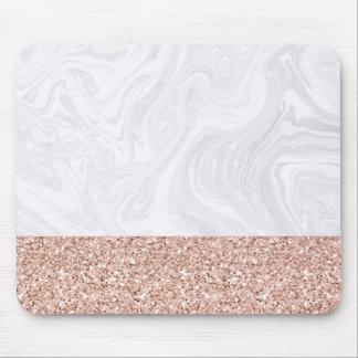 Alfombrilla De Ratón Mármol blanco sumergido en el purpurina color de