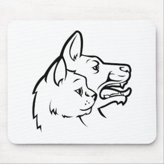 Alfombrilla De Ratón Mascotas gato e icono de las caras del perro