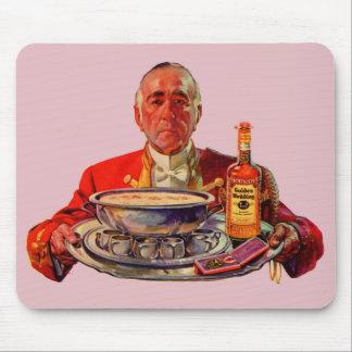 Alfombrilla De Ratón mayordomo 1937 con la bandeja y el whisky del boda
