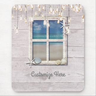 Alfombrilla De Ratón Moda elegante de madera blanca de la ventana