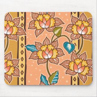 Alfombrilla De Ratón Modelo floral decorativo dibujado mano de oro del