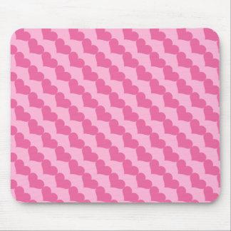 Alfombrilla De Ratón Modelo rosado de los corazones de la tarjeta del