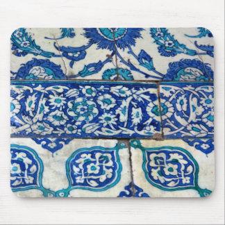 Alfombrilla De Ratón Modelos azules y blancos del iznik clásico del