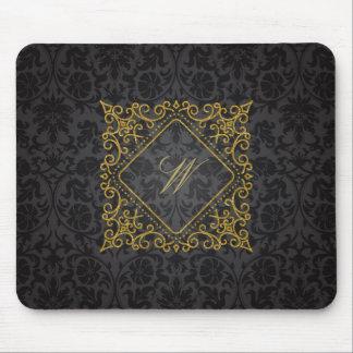 Alfombrilla De Ratón Monograma adornado del diamante en el damasco