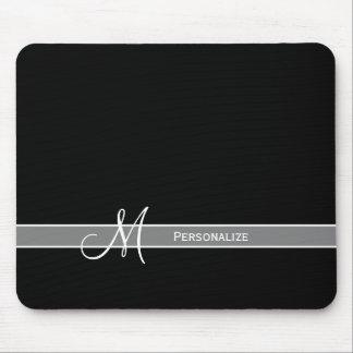 Alfombrilla De Ratón Monograma blanco y negro elegante con nombre