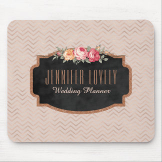 Alfombrilla De Ratón Monograma color de rosa elegante de la pizarra el
