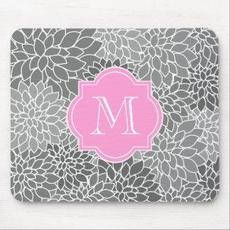 Alfombrilla De Ratón Monograma de encargo rosado floral gris femenino