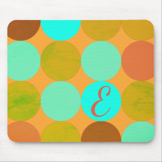 Alfombrilla De Ratón Monograma de los círculos del verde y del naranja