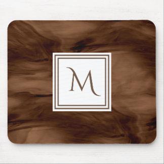 Alfombrilla De Ratón Monograma moderno de mármol sutil oscuro simple de