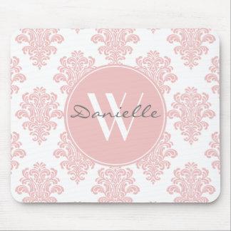 Alfombrilla De Ratón Monograma rosado femenino del damasco