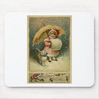 Alfombrilla De Ratón Navidad retro del niño y del gato del vintage del