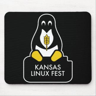 Alfombrilla De Ratón Negro del cojín de ratón del Fest de Kansas Linux