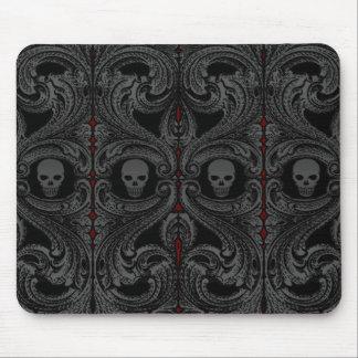 Alfombrilla De Ratón Ornamento gris del gótico con el cráneo