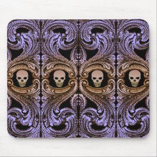Alfombrilla De Ratón Ornamento púrpura del gótico con el cráneo