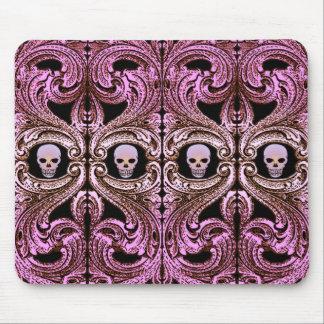 Alfombrilla De Ratón Ornamento rosado del gótico con el cráneo