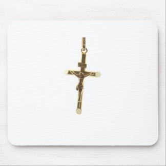 Alfombrilla De Ratón Oro cruzado del Jesucristo horizontal