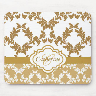 Alfombrilla De Ratón Oro de moda y damasco blanco Mousepad