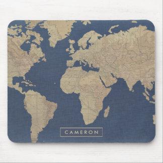 Alfombrilla De Ratón Oro y mapa del mundo azul