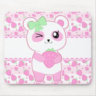 Alfombrilla De Ratón Oso de panda lindo de Kawaii del rosa de la fresa