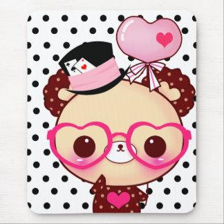 Alfombrilla De Ratón Oso lindo del chocolate con los vidrios rosados
