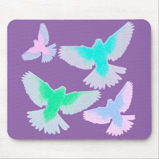 Alfombrilla De Ratón Pájaros en colores pastel