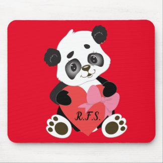 Alfombrilla De Ratón Panda del bebé con rojo del corazón